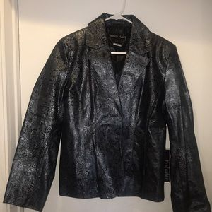 Pamela McCoy floral print leather Jacket